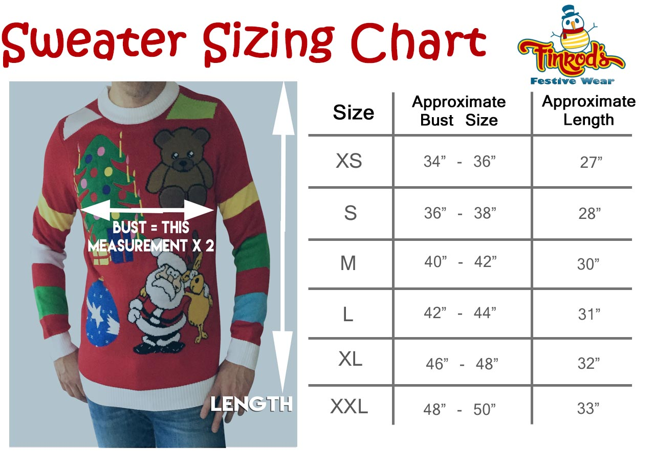 Ugly Christmas Sweater Sizing Chart